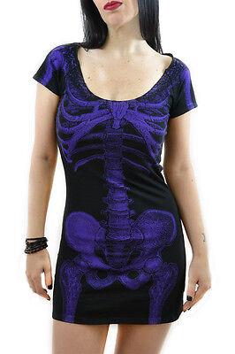 Kreepsville 666 Purple skeleton dress Punk grunge gothic halloween
