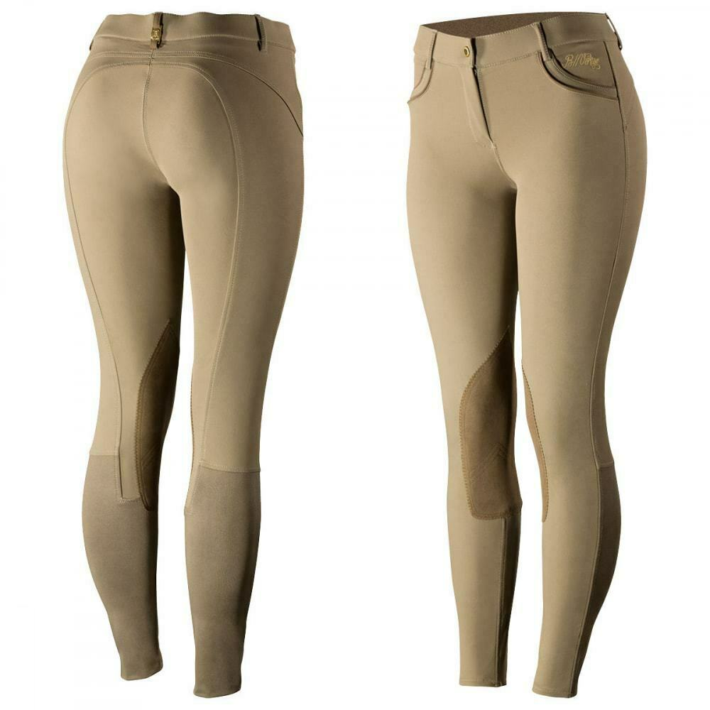 B greenigo Nicola Women's Coolmax Knee Patch Riding Breeches with gold Accents