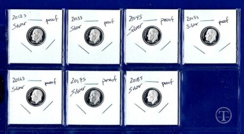 2012 S Through 2018 S Silver Proof Roosevelt Dime Set-Gem Proof-IN STOCK-7 Dimes