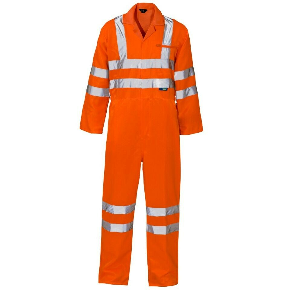 Details about Supertouch Hi Vis Viz Coverall Overall Safety Workwear Boiler Suit Orange