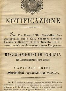 C6459-Toscana-strada-ferrata-Siena-Empoli-Regolamento-di-Polizia-1849