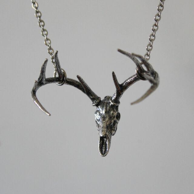 Deer Skull Pendant Necklace in Solid Sterling Silver Antler Stag Hunter Buck 312