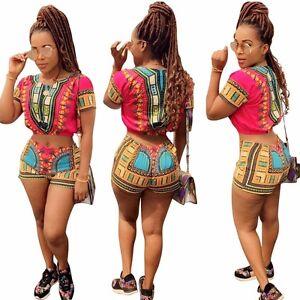 3b105109bb6 Women Summer African Style Dashiki 2 Piece Romper Crop Top Short Set ...