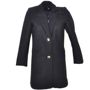 sale retailer 37853 d29b8 Dettagli su Cappottino giacca donna invernale in lana rasata nero taglio  maschile a 3 bottin