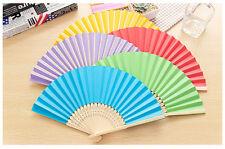Lot Mini Handmade Art Chinese Paper Folding Bamboo Hand Fans Summer Favor