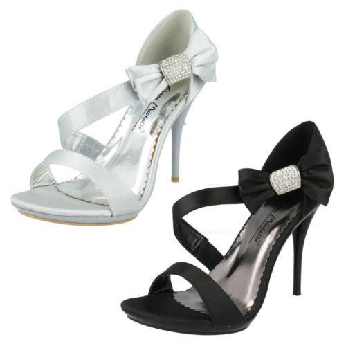 l3390 Lazo - Anne Michelle Tiras Satén Adorno Lazo l3390 sandalias- plateado y negro fcecb8