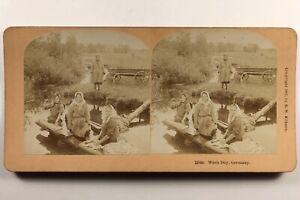 Germania Lavandaie 1897 Foto Stereo Vintage Albumina