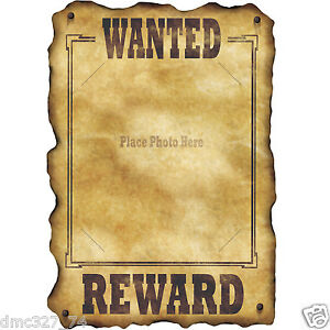 cowboy wild west outlaw party prop decoration wanted reward poster