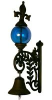 Cast Iron Bell With Blue Glass Gazing Ball 15 Tall