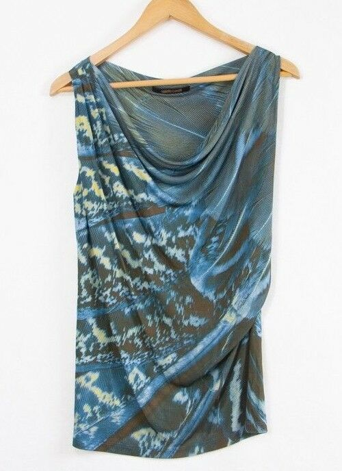 Roberto Cavalli damen Blau Pattern Top Draped neck Signed Sleeveless Größe M 42