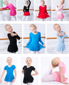 373df8b27ebd New Kids Girls Red Black Long Short Sleeve Ballet Dress Dance tutu ...