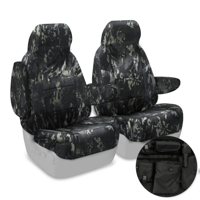 BLACK Multicam Tactical Camo FRONT Seat Covers Custom Made to fit Jeep Wrangler