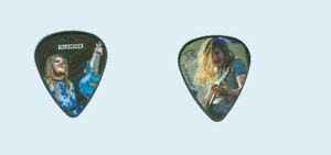 Islander-J-R-Bareis-band-tour-used-guitarist-double-side-photo-Guitar-Pick-Pic