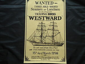 Ships-Poster-1798-Wanted-Three-Able-Bodied-Seamen-Sign-Nice-Framed-Gin-Rum-Bar