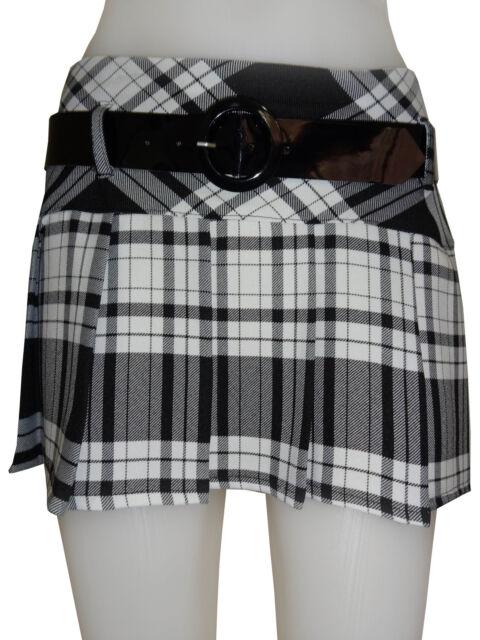 Short Sexy Box Pleat Tartan Mini Skirt Pleated Tartan Mini Skirt Length