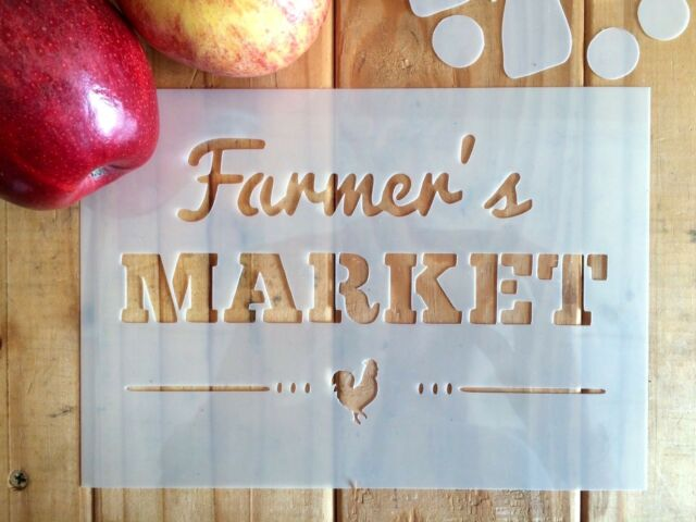 Farmers Market STENCIL Reusable Sign Home Wall Art Interior Decor