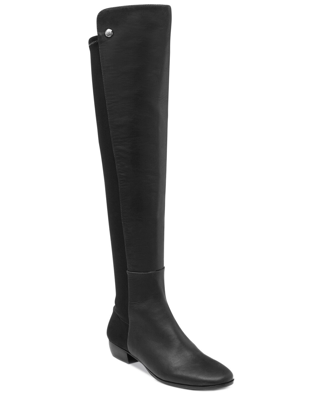 Vince Camuto Karita Mujer Alto botas De Montar Negro Cuero, precio minorista sugerido por el fabricante