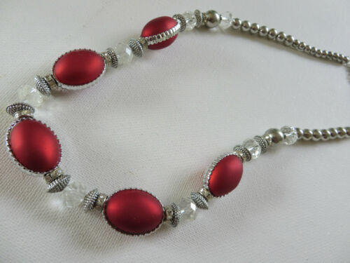 STUNNING SILVER /& CLEAR LARGE OVAL CHUNKY NECKLACE in RED PURPLE BLACK BEIGE new