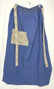 Vintage Long Half Apron Blue Floral Pocket Shabby Chic Hippie Handmade