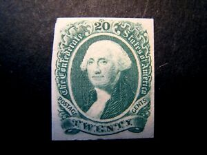 1863 US S# CSA13, 20c Confederate States Geo Washington, green MPH OG f+ *