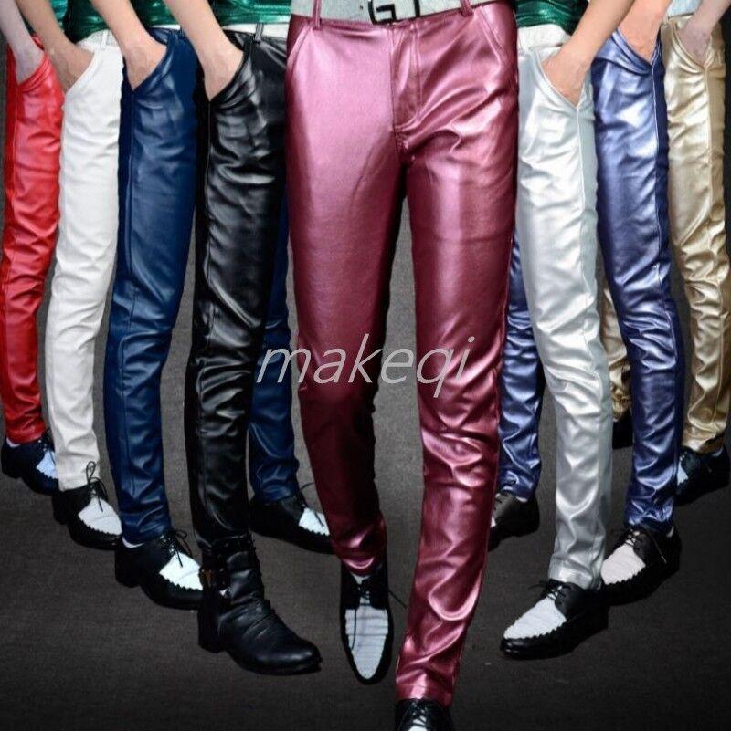 New Mens Casual Slim Fit Pu Leather Pants Trousers Punk Motor Nightclub Pencil