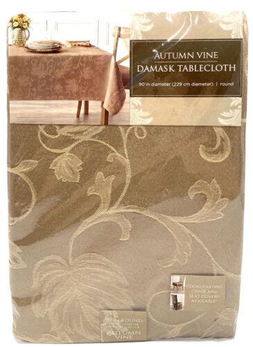 "Autumn Vine Tablecloth Damask 90/"" Round Thanksgiving Fall Mushroom Tan"