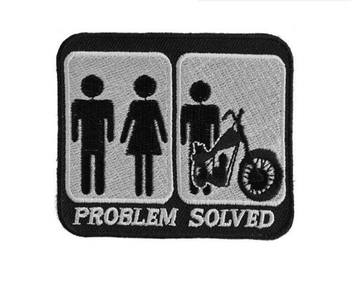 """A0 4084 Biker Vest PROBLEM SOLVED MARRIAGE 3/"""" x 2-5//8/"""" iron on patch"""