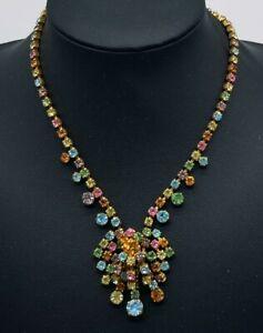 Fabulous-Vintage-Colourful-Paste-Parure-of-Chandelier-Necklace-Earrings-amp-Brooch