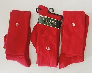 Ralph-Lauren-Casmere-Blend-Red-Socks-High-Sock-Sz-9-11-Fits-shoe-sz-4-10-5
