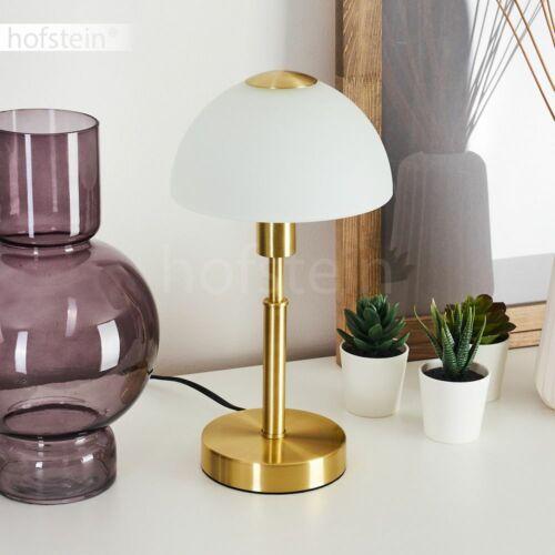 Messingfarbene Nacht Tisch Lese Lampen Glas weiß Wohn Schlaf Zimmer Beleuchtung