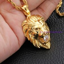 COOL Men's Stainless Steel Gold Lion   With Stone Pendant Necklace Rope Chain