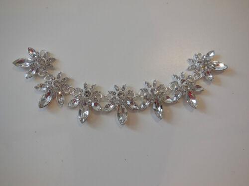 Braut Hochzeit Silber Blumenmuster Strass Kette Applikation Basteln Diamant