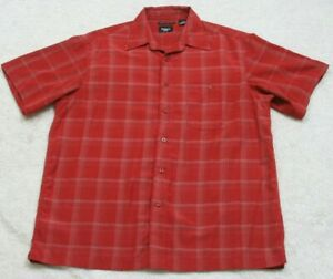 Haggar-Red-Pocket-Dress-Shirt-Mens-Short-Sleeve-Striped-Top-Size-Large-Polyester