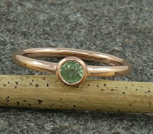 Natural Green Sapphire Rose Gold Plated Sterling Silver Wedding Ring US 3 to 15