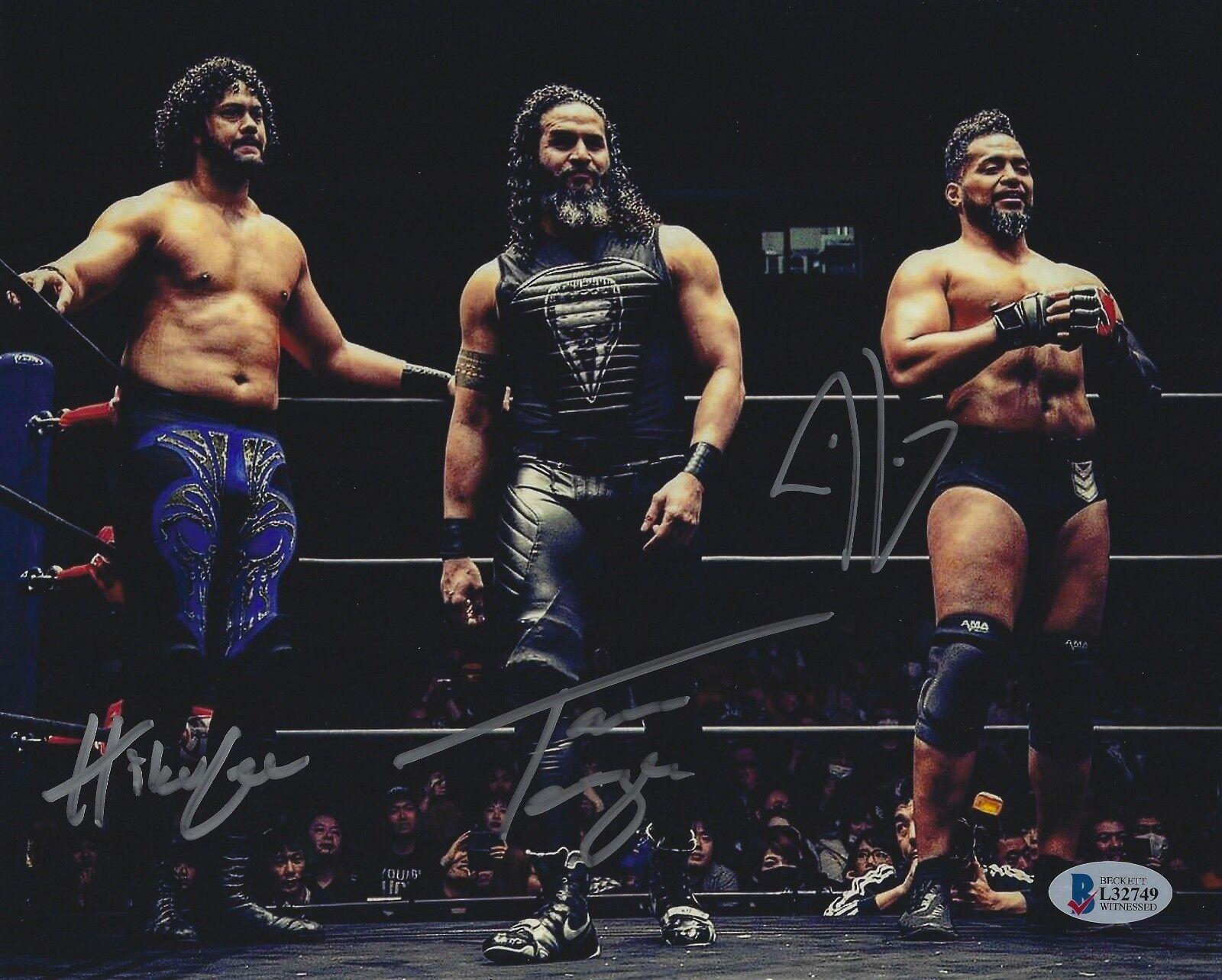 Tama Tonga Tanga loa hikuleo signed 8x10 Photo Bas cert. de autenticidad New Japan Pro Wrestling 3
