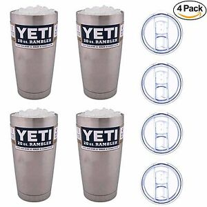 Details about Set of 4 YETI Rambler 20 oz Stainless Steel Vacuum Insulated  Tumbler with Lid