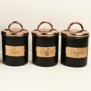 Details About Tea Coffee Sugar Hammered Metal Canisters Black Copper Lid Kitchen Storage Tins