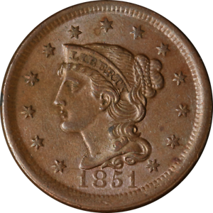 1851 Large Cent Nice Unc Great Eye Appeal Strong Strike