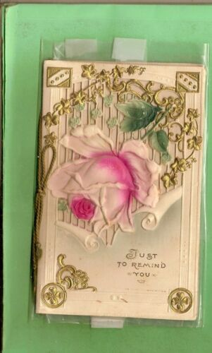 #MM. #7. OLD EMBOSSED GREETING CARD, JUST TO REMIND YOU