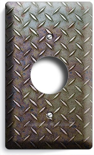 RUSTED INDUSTRIAL DIAMOND METAL DESIGN LIGHT SWITCH OUTLET WALL COVER ROOM DECOR