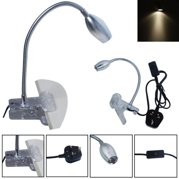 Eye Protection Led Flexible Reading Light Clip On Beside Bed Table Desk Lamp Uk