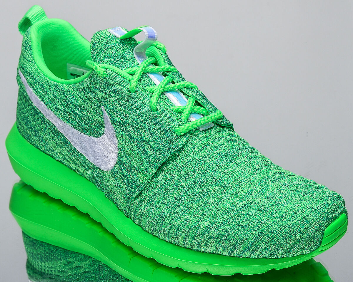 Nike Roshe casi como nuevo Flyknit informal hombres estilo de vida informal Flyknit Tenis Nuevas Voltaje Verde 677243301 93984e