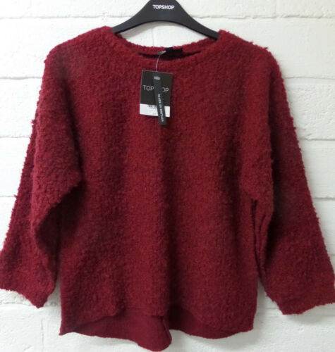 Women Ladies New Short Warm Wooly Boucle Casual Dipped Hem Jumper Top UK 4-14
