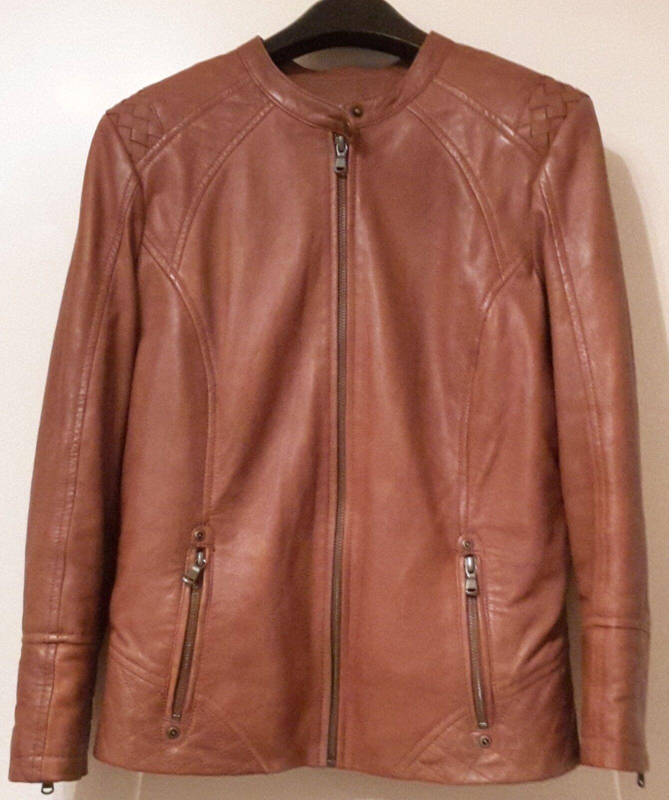 2be1fa858f6fcd Lederjacke Jacke Damenjacke Echtleder Leder gesteppt Gr. S PROMOD  Stehkragen nzacpg1851-neue Kleidung