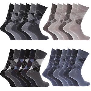 6 Pairs Mens Happy Argyle Diamond Cotton Rich Lycra Design Socks Uk Size 6-11