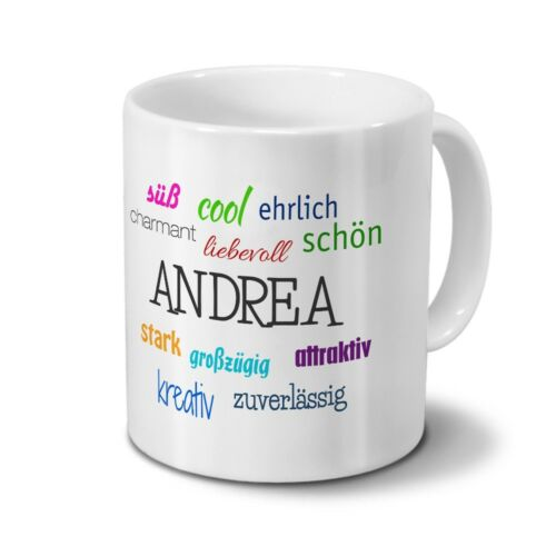 Positive Eigenschaften Tasse mit Namen Andrea