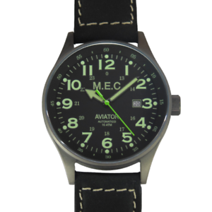 Orologio-Automatico-Uomo-Vintage-Nero-Militare-Acciaio-Subacqueo-MEC-Military