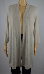 Alfani-Womens-Beige-Open-Front-Cardigan-Sweater-M