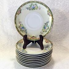 SAUCER Lot: 10 MEITO China WOODBINE Hand Painted Floral Flowers Gold Trim JAPAN