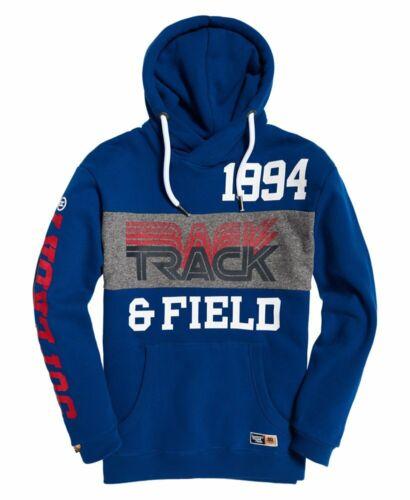 New Mens Superdry Triple Drop Cobalt Blue Oversized Track Hoodie Sweatshirt L